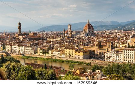 View of Duomo and Giotto's bell tower Santa croce and palazzo signoria from Piazzale Michelangelo.