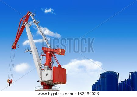 large crane blue sky clouds clear weather loading industry