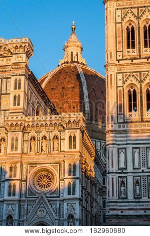 FLORENCE ITALY - Oct 10 2016. cathedral Santa Maria del Fiore (Duomo) Giotto's bell tower (campanile) and Baptistery of St. John from Piazza del Duomo on Oct 10 2016 Florence Tuscany Italy