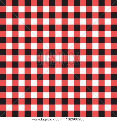 Plaid pattern background of black and red squares over a white background