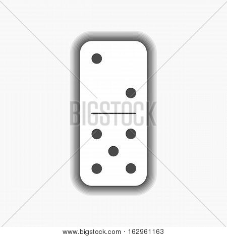 Domino White. Two And Five On Isolated Background