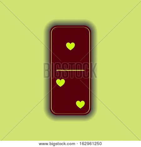 Domino Heart. One And Two On The Isolated Background
