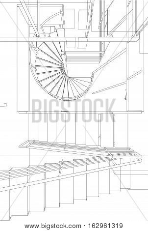 Staircase Perspective Vector ...
