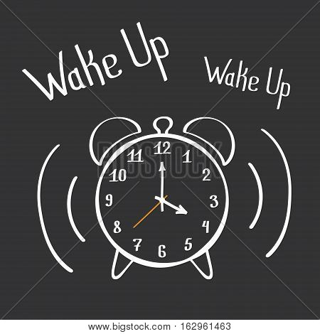 Wake Up Alarm Clock Lettering Poster. Hand Drawn Vector Design Element