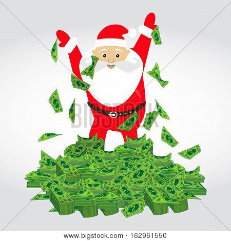 Dolar. a bunch of mountain of money Santa Claus. Simple fashion symbol for web site design or a button for mobile applications. Logo Illustrations