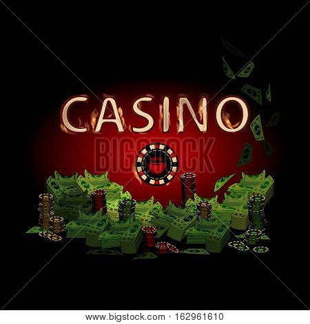 Casino fire letters on a dark background chip. Simple fashion symbol for web site design or a button for mobile applications. Logo Illustrations