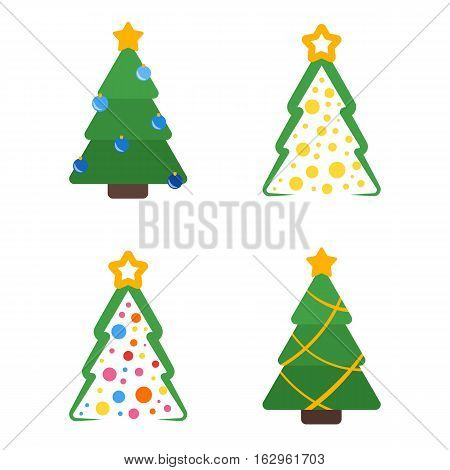 Christmas tree flat with star and garland colored set
