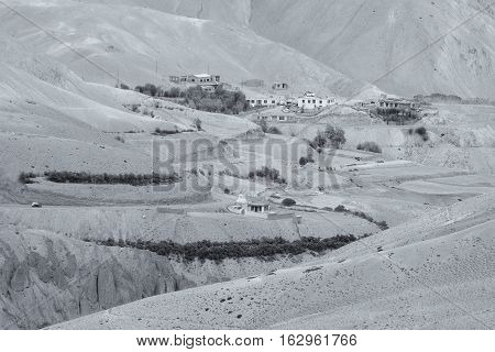 Aerial view of Zigzag road - famously known as jilabi road at old route of Leh Srinagar Highway Ladakh Jammu and Kashmir India. Black and White Image.
