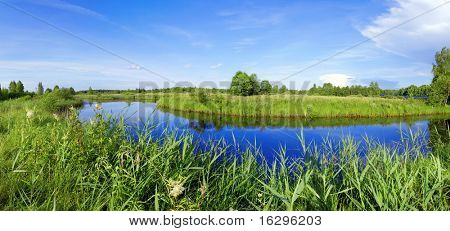 Beautiful panorama of the river of Berezina in Berezinsky reserve