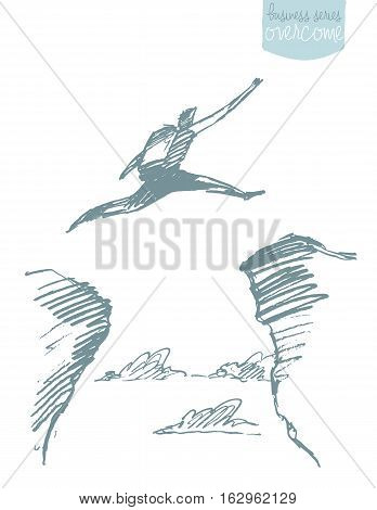 Silhouette of a man jumping over a gap. Concept vector illustration, sketch