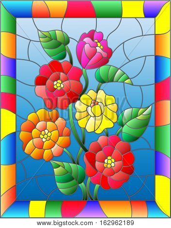 Illustration in stained glass style with flowers buds and leaves of zinnias on a brown background