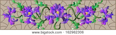 Illustration in stained glass style with flowers buds and leaves of iris on a brown backgroundthe horizontal orientation
