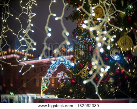 Decorations for New Year and architecture of Moscow. Historical Museum