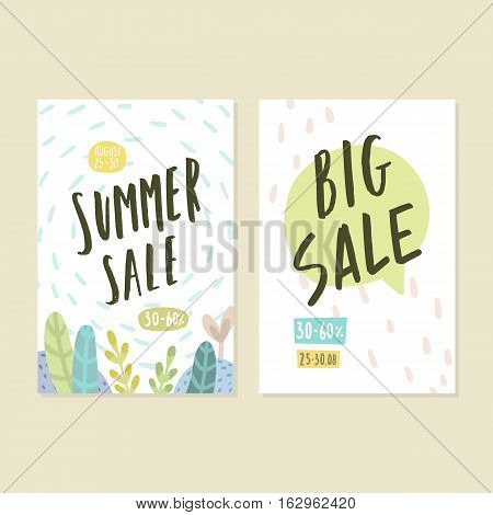 Two flyer templates. Summer sale. Vector hand drawn illustration.