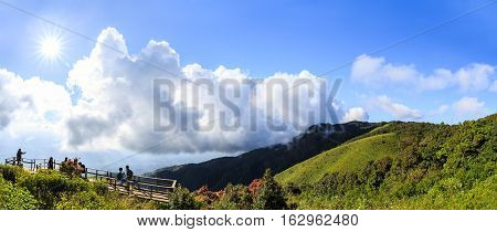 CHIANG MAI THAILAND - 06 NOVEMBER 2016 -Beautiful scenery and bright sky with sunlight at Kew Mae Pan panoramic vantage point with tourist