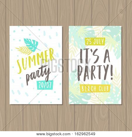 Summer party. Two flyer or posters templates. Vector hand drawn illustration.