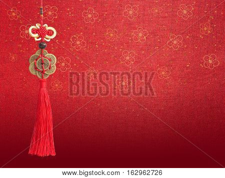 Chinese good luck symbol isolated on red silk texture with flower pattern. Chinese new year background.