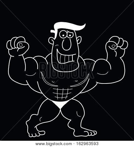 Monochrome outline cartoon strongman isolated on black background