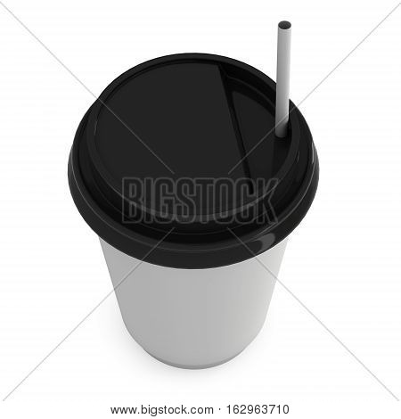 Disposable coffee cup with paper straw . Blank paper mug with plastic cap. 3d render isolated on white background