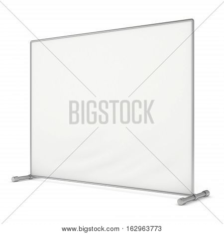 Billet press wall with blank banner. Mobile trade show booth white and blank. 3d render isolated on white background. High Resolution Template for your design.