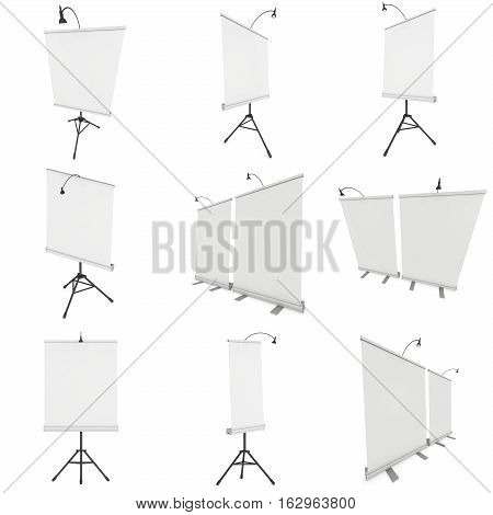Blank Roll Up Expo Banner Stand on Tripod Set. Trade show booth white and blank. 3d render illustration isolated on white background. Template mockup for your expo design.