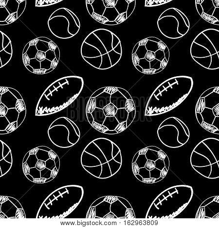 Sport balls doodle hand drawn icons seamless pattern, tiling ornament on black. Vector illustration