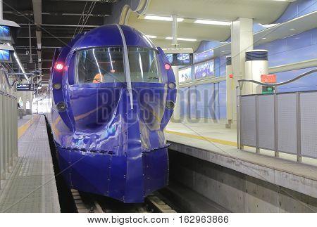 OSAKA JAPAN - OCTOBER 18, 2016: Rapit express train leaves for Kansai Airport at Nankai Nanba Station. Nankai Nanba Station is located in Nanba and connects downtown Osaka and Kansai airport for 35 mins