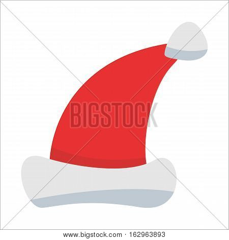 Red Santa Claus Hat isolated on white background. Winter Merry christmas and new year celebration vector illustration.