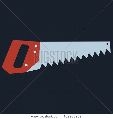 Hand saw tools hand equipment flat. Vector illustration on black background