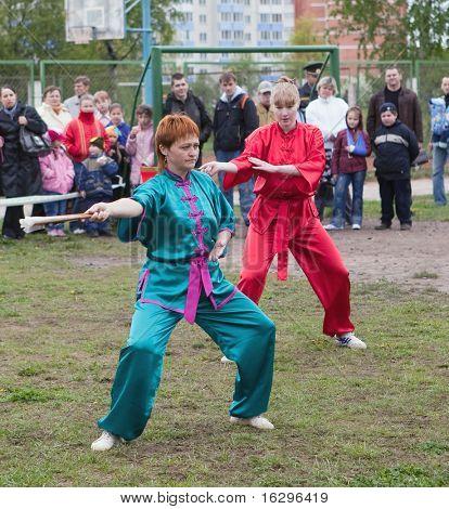 VITEBSK, BELARUS - MAY 16: Performance of group of oriental combat sports on sports holiday May, 16, 2009 in Vitebsk, Belarus.