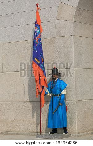 SEOUL SOUTH KOREA - OCTOBER 19, 2016: Changing of the guard ceremony at Gyeongbokgung Palace in Seoul. Gyeongbokgung Palace was the main royal palace of the Joseon dynasty built in 1400