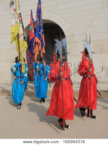 SEOUL SOUTH KOREA - OCTOBER 19, 2016: Changing of the guard ceremony at Gyeongbokgung Palace in Seoul. Gyeongbokgung Palace was the main royal palace of the Joseon dynasty built in 1403