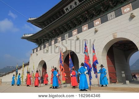 SEOUL SOUTH KOREA - OCTOBER 19, 2016: Changing of the guard ceremony at Gyeongbokgung Palace in Seoul. Gyeongbokgung Palace was the main royal palace of the Joseon dynasty built in 1404