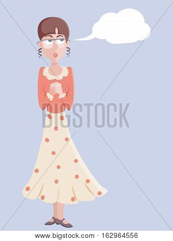 portait of romantic girl - funny cartoon vector illustration