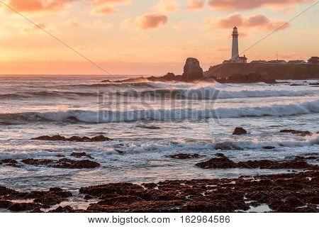 Sunset at Pigeon Point Lighthouse. Pescadero, California, USA