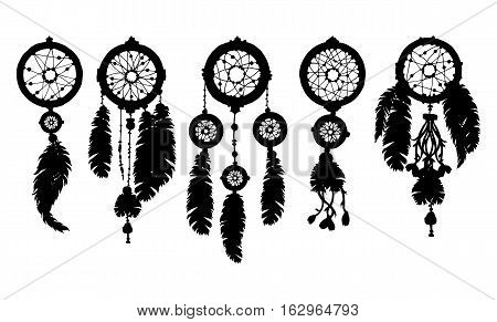 Hand drawn dreamcatchers with beads and feathers. Decorative boho style elements for design.