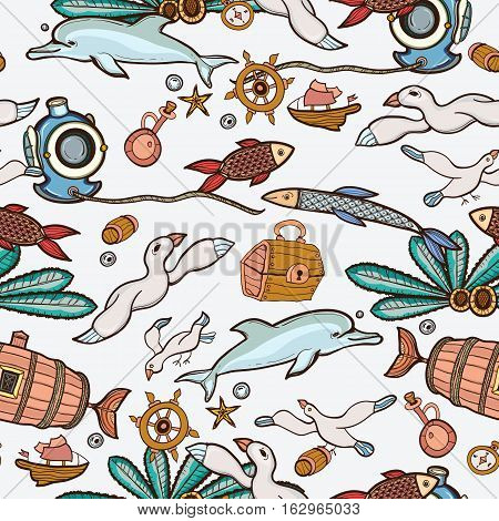Underwater seamless pattern of elements on the tropic sea life.