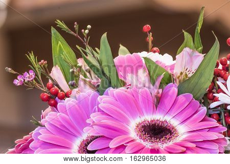 bouquet of flowers combined with a predominance of red gerberas