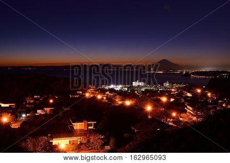 Night view of Enoshima and Mt. Fuji from Zushi -City