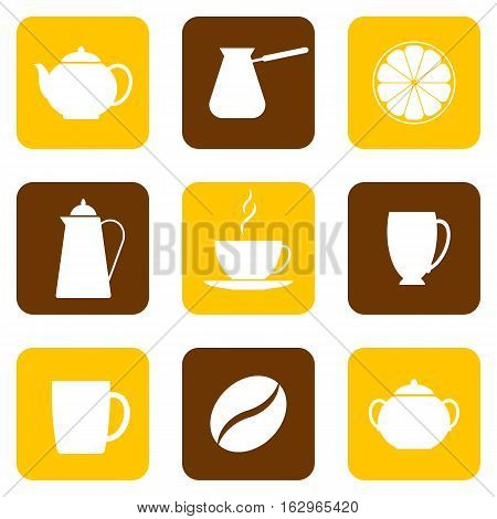 Icons of tableware for coffee and tea. Vector illustration. Set collection.