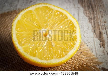 Fresh Lemon On Old White Wooden Table, Healthy Food And Nutrition