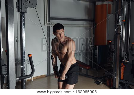 Man At The Gym. Man Makes Exercices. Sport, Power, Dumbbells, Tension, Exercise - The Concept Of A H