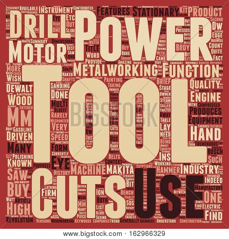 A Brief History Of Power Tools text background wordcloud concept
