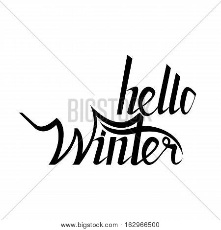 Hello winter brush lettering calligraphy on white isolated. er text for cards, invitations, templates with hand drawn lettering