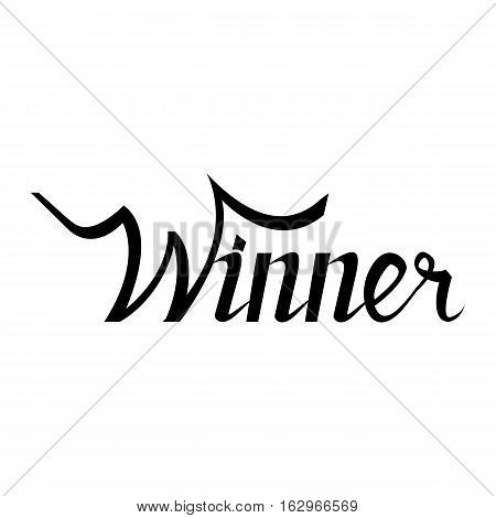 winner hand lettering text. Badge drawn by , using the skills of calligraphy, collected in accordance with rules typography