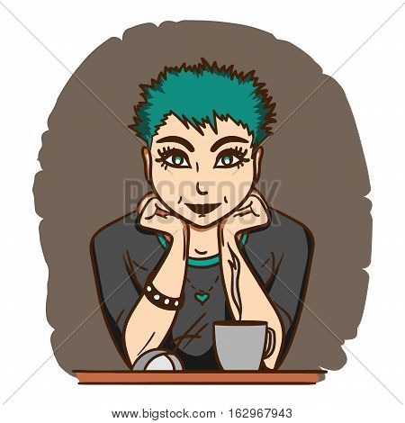 Pretty girl with green hair sitting in front of monitor with a cup of tea