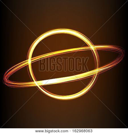 Silhouette of line image of planet in fire-show style