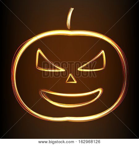 Silhouette of Halloween smiling pumpkin in fire-show style