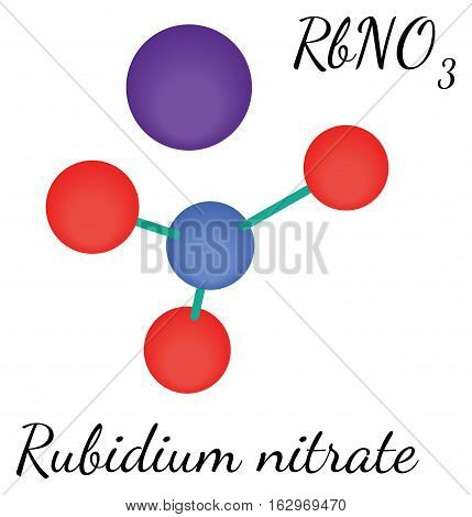RbNO3 Rubidium nitrate molecule isolated on white