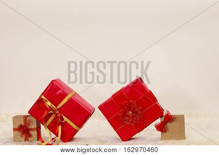 Many red and golden gift boxes christmas time concept
